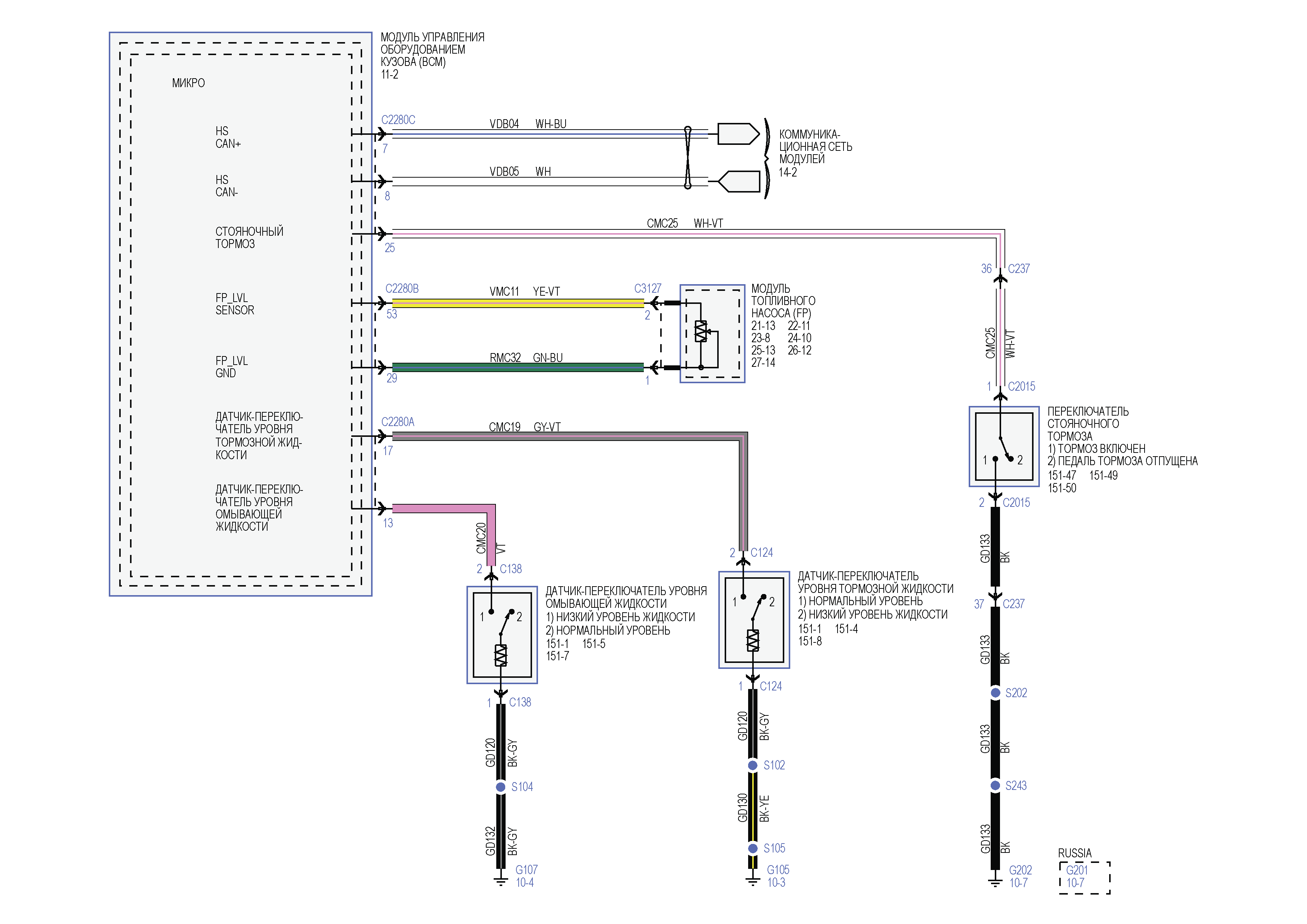 Датчик уровня тормозной жидкости схема